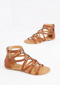 Cognac Oval Strap Gladiator Sandal