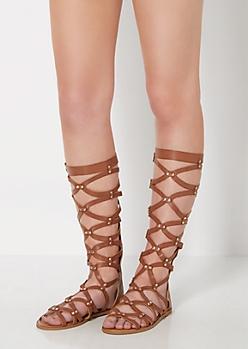 Cognac Strappy Studded Gladiator Sandals