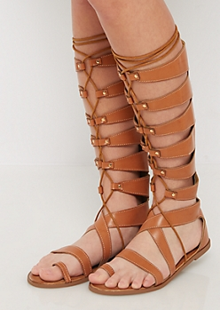 Cognac Lace-Up Studded Gladiator Sandal