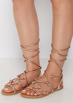 Rose Gold Braided Lace-Up Sandal