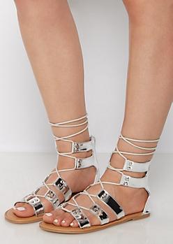 Silver Metallic Gladiator Sandal