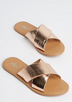 Rose Gold Cross Strap Slide On