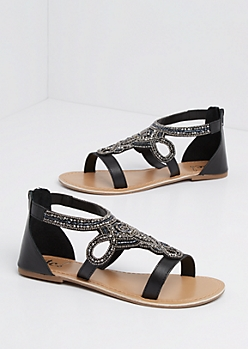 Black Swirling Beaded Sandal