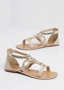 Taupe Swirling Beaded Sandal