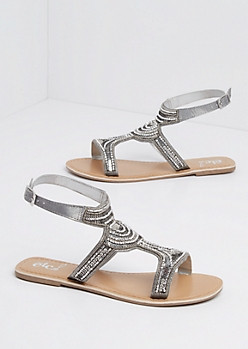 Silver Matte Metallic Beaded Sandal