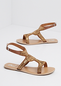 Golden Matte Metallic Beaded Sandal