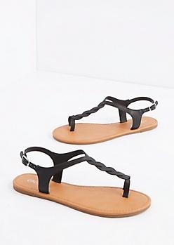 Black Twisted T-Strap Sandal