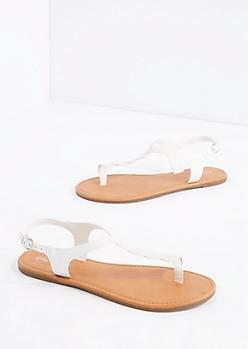 White Twisted T-Strap Sandal