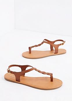 Cognac Twisted T-Strap Sandal