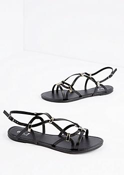 Black Strappy Woven Sandal