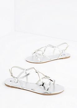 Silver Strappy Woven Sandal