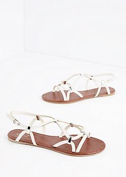 White Strappy Woven Sandal