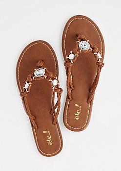 Cognac Woven Stone Sandal