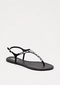 Black Gem Embellished T-Strap Sandal