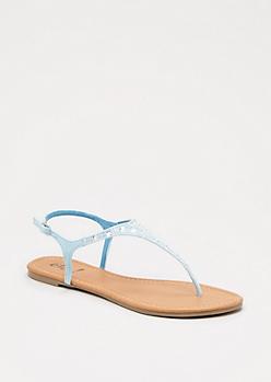 Light Blue Gem Embellished T-Strap Sandal