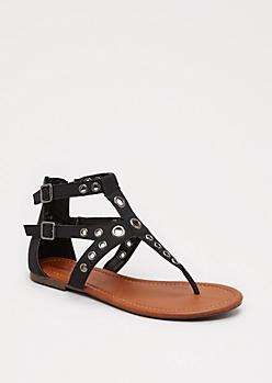 Black Grommet Gladiator Sandals By Celebrity Pink®
