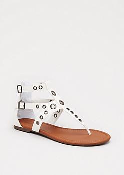 White Grommet Gladiator Sandals By Celebrity Pink®