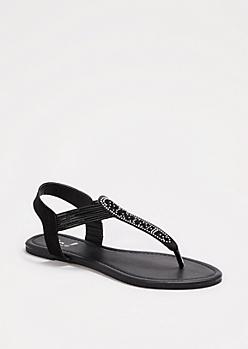 Black Shimmering Cut-Out Sandals