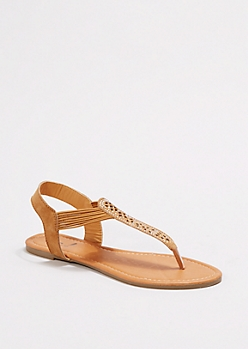 Taupe Shimmering Cut-Out Sandals