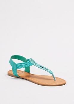 Mint Shimmering Cut-Out Sandals