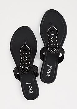 Black Geo Cut-Out Embellished Sandals