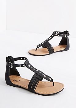 Black Grommet T-Strap Sandal