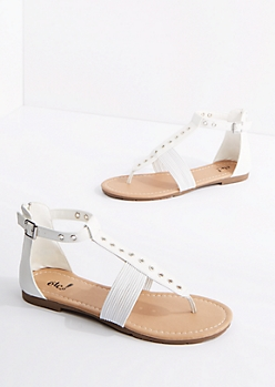White Grommet T-Strap Sandal