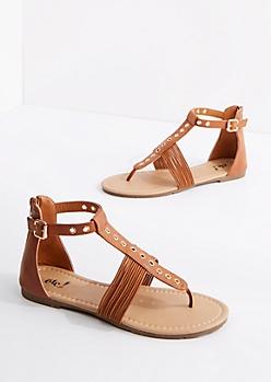 Cognac Grommet T-Strap Sandal