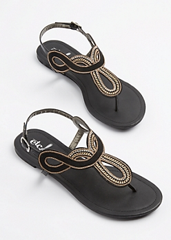Black Swirling Chain Link Sandal