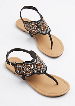 Black Medallion Embroidered T-Strap Sandal