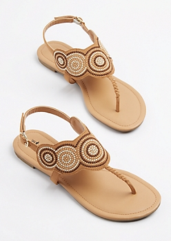 Tan Medallion Embroidered T-Strap Sandal