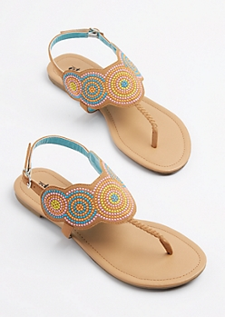 Blue Medallion Embroidered T-Strap Sandal