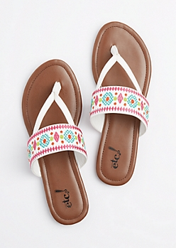 Border Embroidered Slip On Sandal