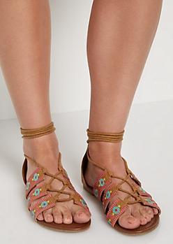 Bright Tribal Embroidered Gladiator Sandal