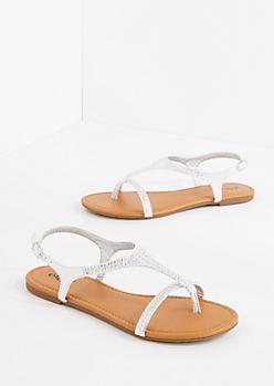 Silver Rhinestone T-Strap Sandal