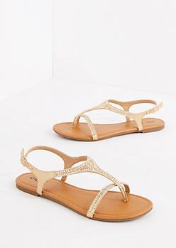 Tan Rhinestone T-Strap Sandal