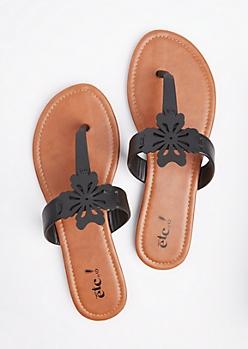 Black Floral Cutout T-Strap Sandal