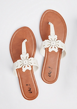 White Floral Cutout T-Strap Sandal
