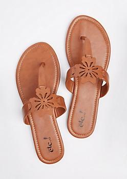 Brown Floral Cutout T-Strap Sandal
