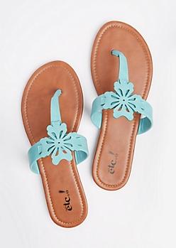 Turquoise Floral Cutout T-Strap Sandal