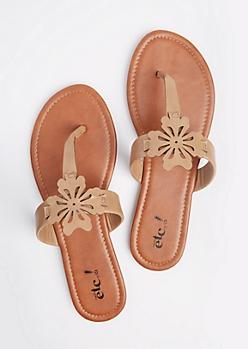 Tan Floral Cutout T-Strap Sandal