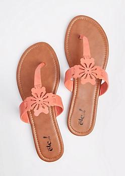 Coral Floral Cutout T-Strap Sandal