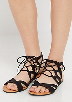 Black Crisscross Gladiator Sandal