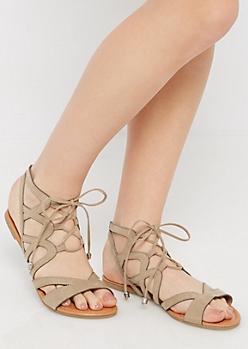 Taupe Crisscross Gladiator Sandal