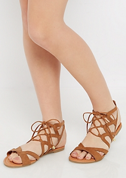 Cognac Crisscross Gladiator Sandal