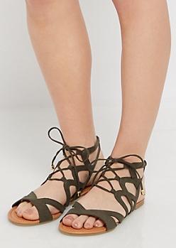 Olive Crisscross Gladiator Sandal