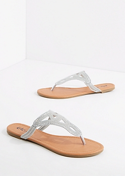 Silver Studded Geo Sandal