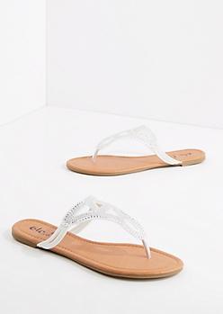 White Studded Geo Sandal