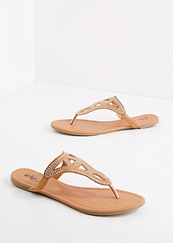 Cognac Studded Geo Sandal
