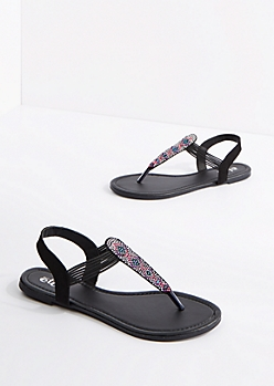 Black Geo Beaded T-Strap Sandal